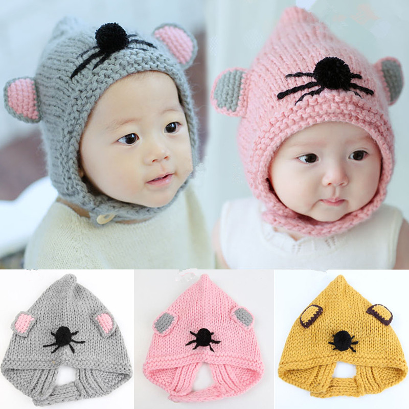 2016 New Girl Infant Solid Baby BB Newborn Children Wool Cute Mouse Handmade knitted Hat Cap Beanie Bonnet Caps Hair Accessories(China (Mainland))