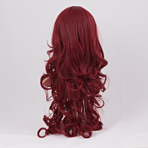 Гаджет  New Arrival Charming Long Wavy Wine Red Hair Synthetic Wig Women