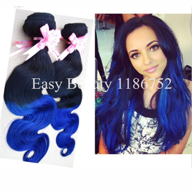 Blue Black Real Hair Extensions Remy Indian Hair