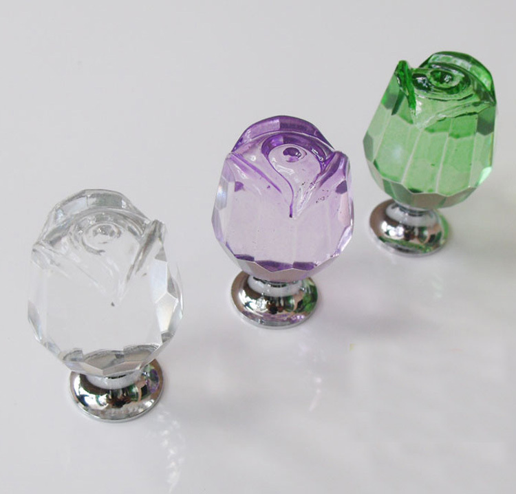 UNILOCKS 10Pcs Furniture Hardware Luxury K9 Crystal Glass Rose Kitchen Drawer Handle Knobs(Clear,Green,Purple)(China (Mainland))