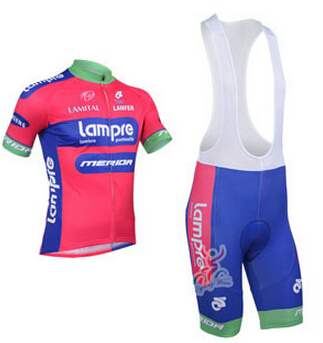 New Lampre Team Bicycle Jersey Outdoor Sports Cycling Jerseys Short Sleeve Bike Jacket Cyclewear Bib Pants Sets(China (Mainland))