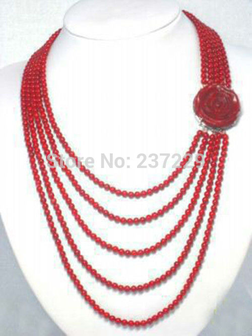 Hot sell ->@@ Wholesale XSZ2014 ^^Fashion jewelry Red Coral & White Freshwater Pearl Necklace Coral Flower Clasp -Top quality fr(China (Mainland))