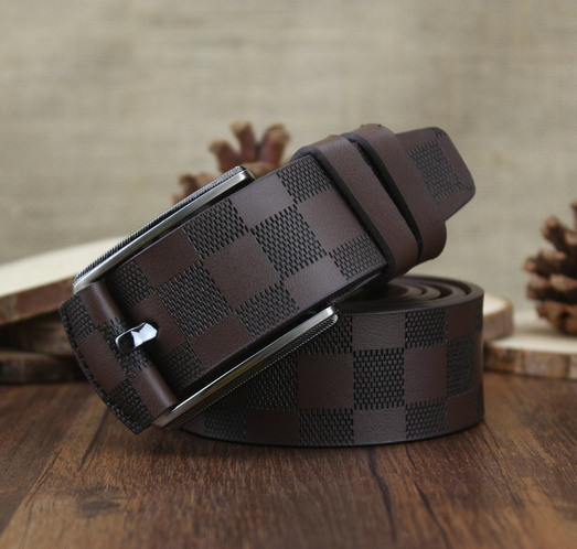 2015 new men's 100% leather belt gold letters Belt Buckle grid Haig luxury leather belt men's belts(China (Mainland))