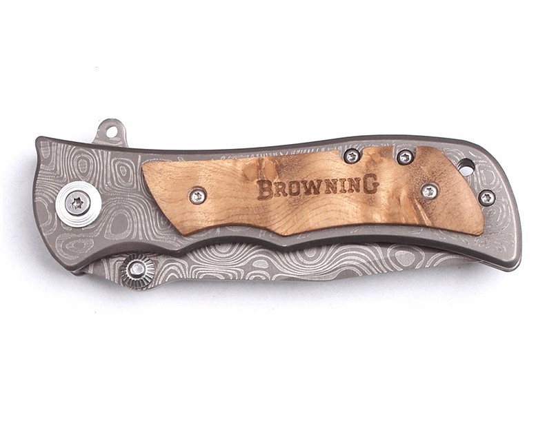 Buy Potable Small Pocket knife Browning Shadow Wood Handle 58HRC Outdoor Camping Hunting Tool Survival Knife Titanium processing cheap