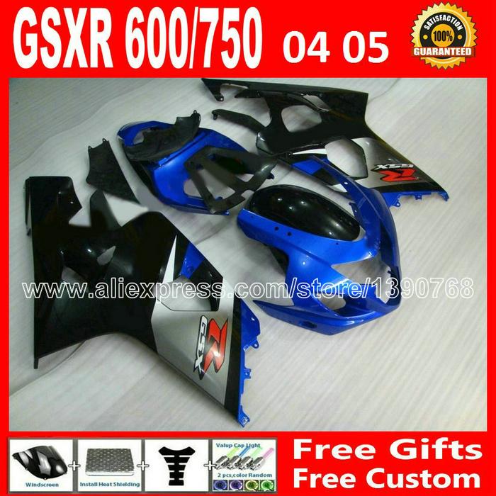 ABS plastic for gleamy black blue SUZUKl 2004 2005 custom GSXR 600 750 fairing K4 RIZLA version 04 05 gsxr600 GSX R750 DTV 893(China (Mainland))