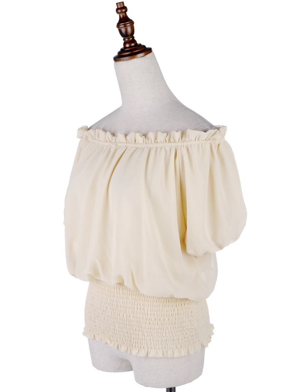 White Peasant Boho Style Smocked Waist Chiffon Blouse Short Top For Women