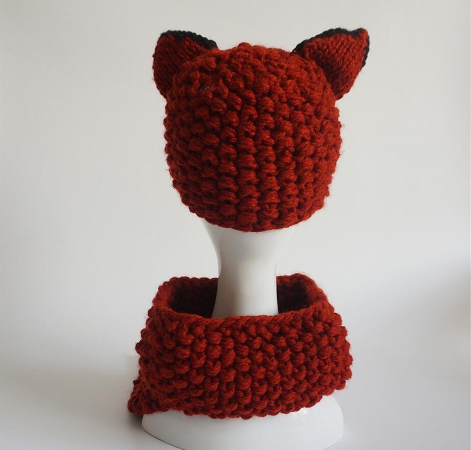 Crochet Baby Hat  children  knit hat cartoon animal fox handmade wool hat scarf suit Top Fitted Kids Winter Baby Hats Caps Knit