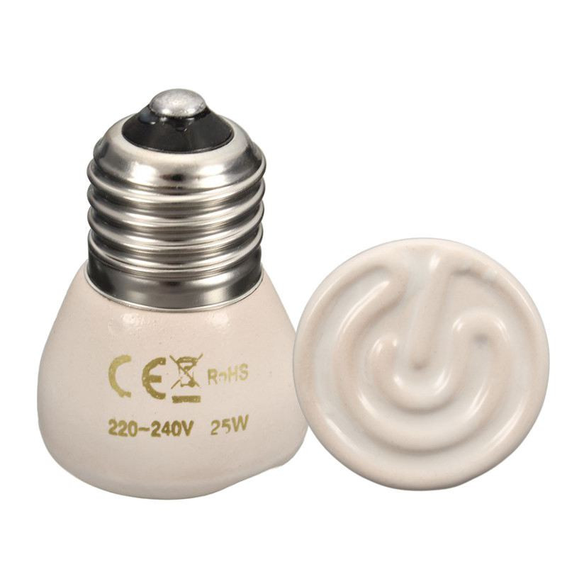 Hot Sale E27 25/50/75/100W Mini Ceramics Infrared Emitter Heating Light Lamps For Reptile Pet Brooder White AC110/220V(China (Mainland))