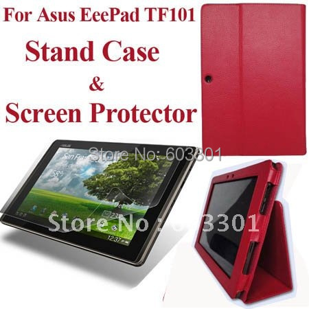 For Asus EeePad TF101 case + screen protector, for asus TF101 cover stand case and screen guard(China (Mainland))