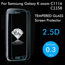 Premium Tempered Glass For Samsung Galaxy K Zoom C1116 / C1158 / C115 Screen Protector Toughened Protective Film With Retail Box(China (Mainland))
