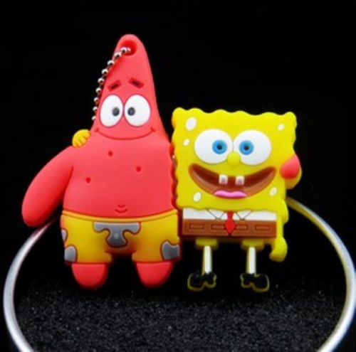 Free shiping Cute Cartoon SpongeBob Model Plastic 2.0 usb memory flash stick pen drive disk 16GB 32GB(China (Mainland))