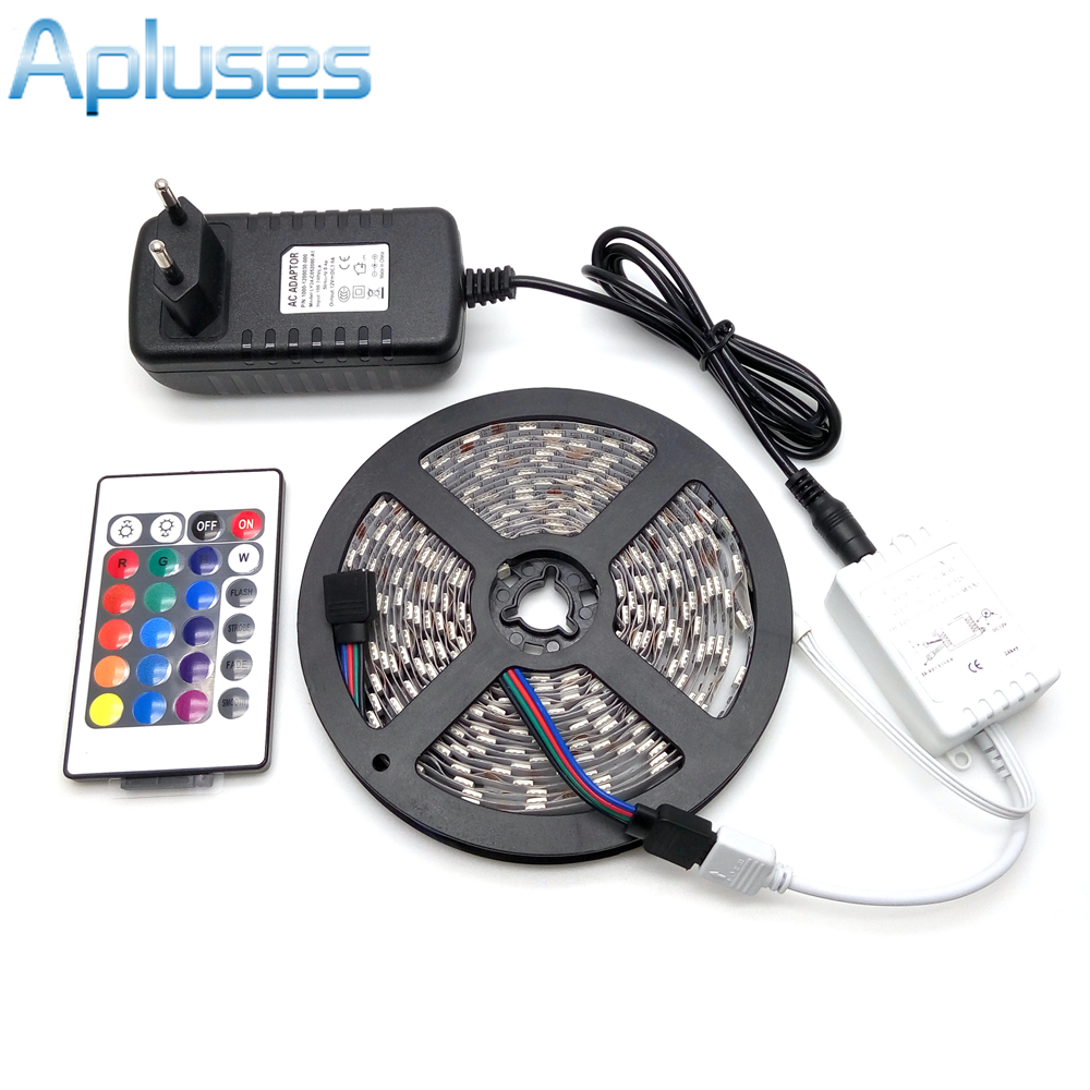 LED Strip Light 5050 RGB 5M 300LED Flexible Strip Light Set + 24Keys Remote Controller + 12V 3A Power Supply Adapter(China (Mainland))