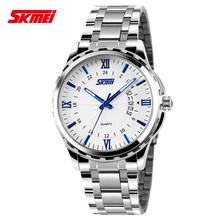 Skemi 100% nuevo hombre del reloj de moda a prueba de agua comercial estilo británico pointer auto calendario casual reloj reloj de cuarzo 9069