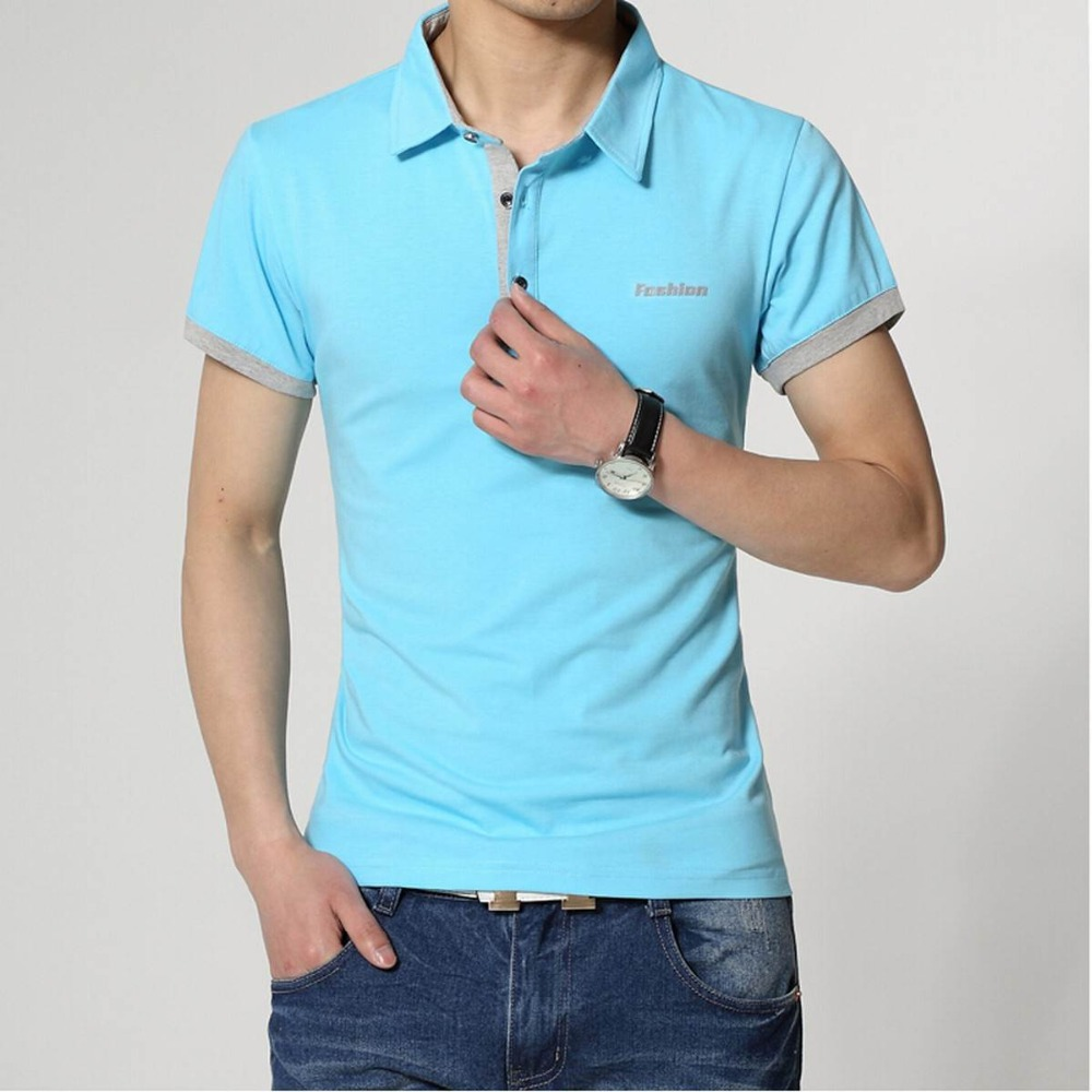 Hot Sale 2016 New Fashion summer casual men's lapel casual POLO Slim Fit Short Sleeve Men personality Polo Shirt c311(China (Mainland))