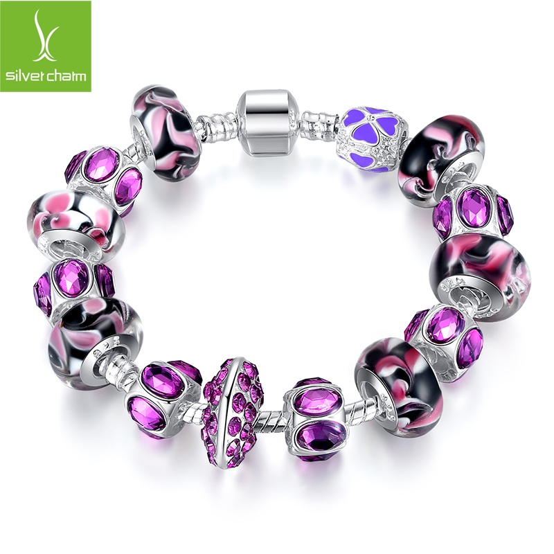 2015 Hot SALE 925 Silver fit Pandora Charm Bracelet for Women and Girls With Purple Glass Bead Charm Fashion Jewelry XCH1319(China (Mainland))