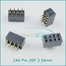 50PCS 2X4 Pin 8P 2.54mm Double Row Female Straight Header Pitch Socket Pin Strip(China (Mainland))