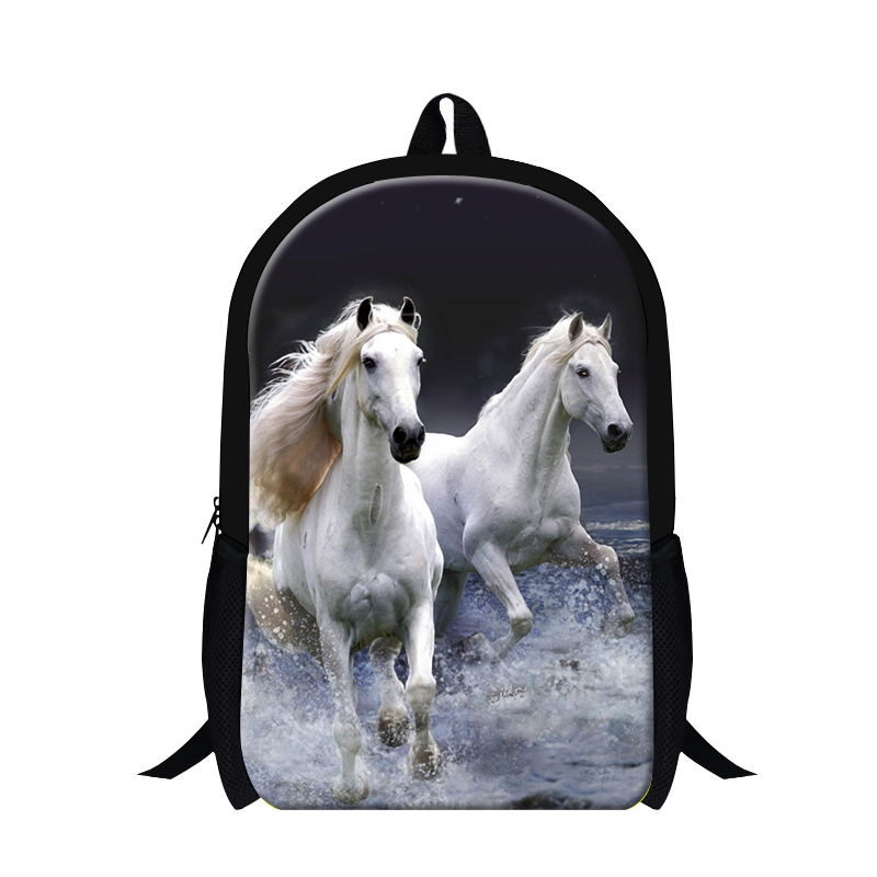 Fashion 3D Animals School Backpack Men's Travel Bag Horses Print Kids School Bags College Student Book Bags For Teenagers(China (Mainland))
