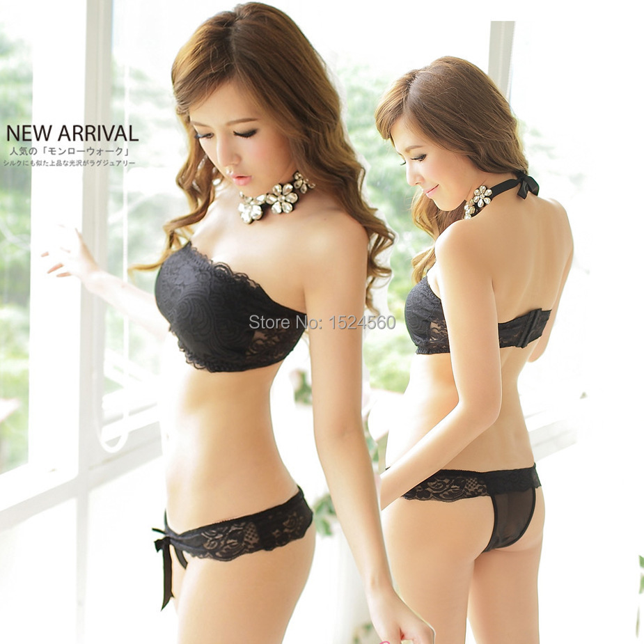 Hot Sale Women Sexy Lace Push Up Strapless Chest Wrap Set Four Hook and eye Cute
