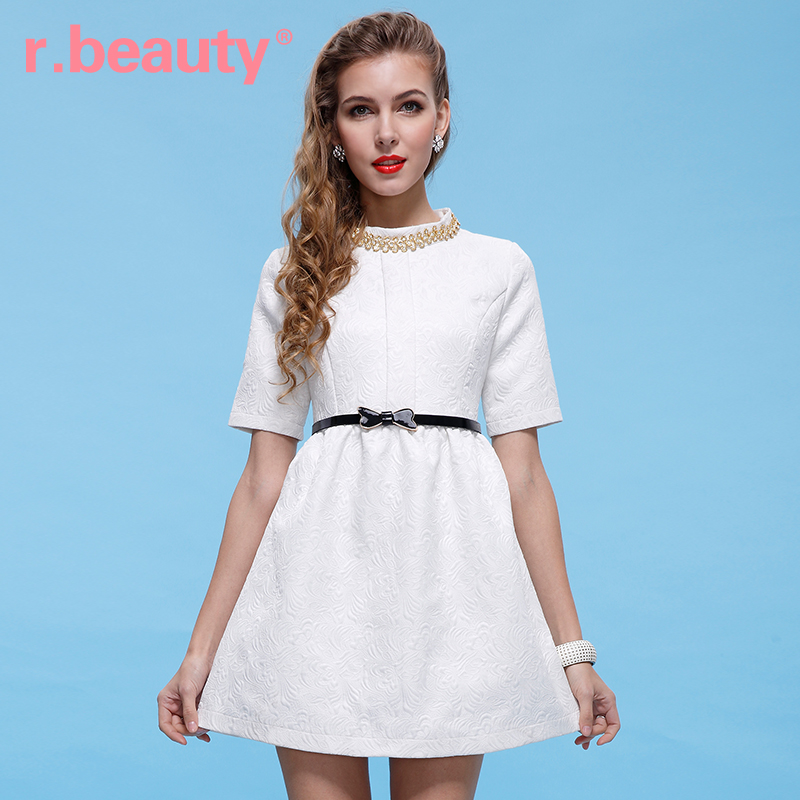 2014 New fashion R . beauty summer women's jacquard relief high waist one-piece dress lady white dress free shipping RB-148D