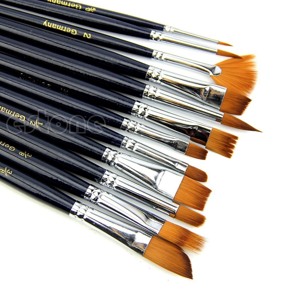 12pcs Nylon Hair Paint Brush Set Artist Watercolor Acrylic Oil Painting Supplies(China (Mainland))