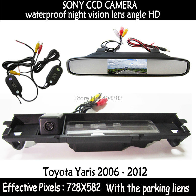 HD LED Night Vision Video Auto Parking Monitor backup SONY Car RearView Camera With 4.3inch Car Rearview Mirror for Toyota Yaris(China (Mainland))