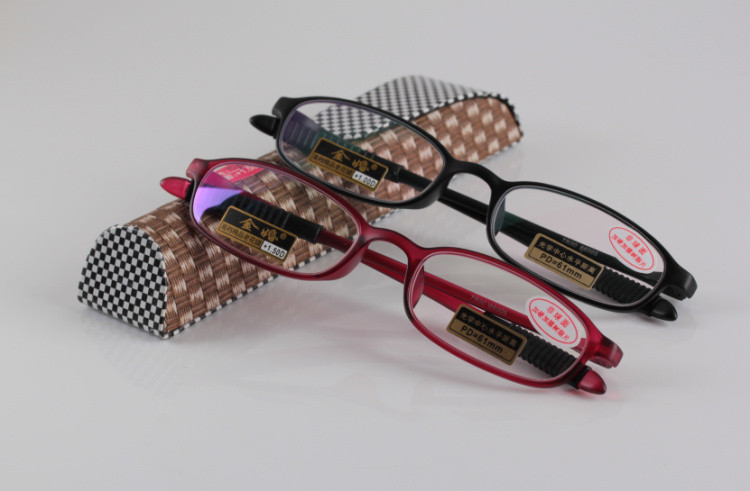 TR 90 Bendable Glasses Slim Eyeglasses Frame Women and Men Red Black Optical Reading Glasses 2.5(China (Mainland))