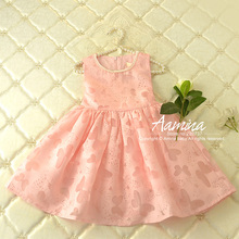 [Aamina] Pink Butterfly Girls dresses, new summer baby girls clothes ,wholesale baby boutique clothing 5 pcs/lot–P2101150