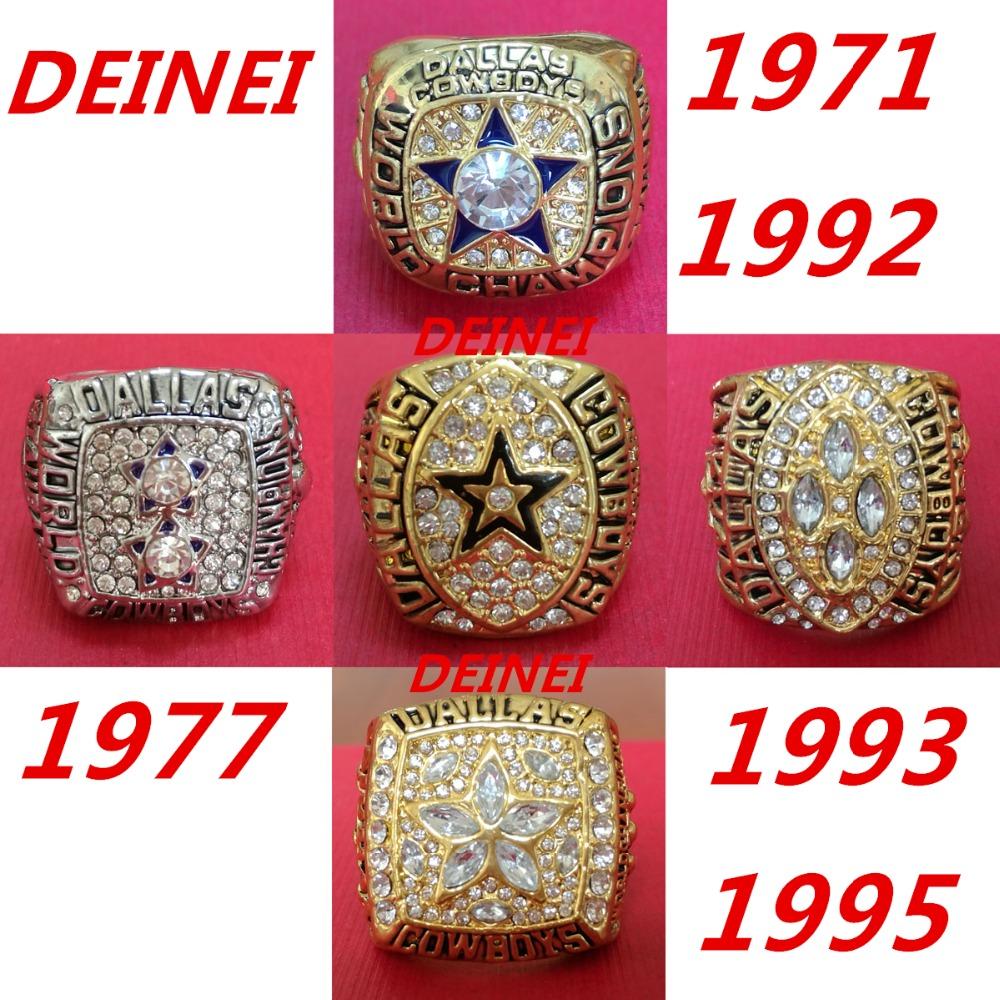 1971 1977 1992 1993 1995 all Dallas Cowboys Super Bowl replic championship rings US Size 8-13 on sale(China (Mainland))