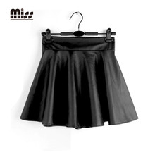 MISS 2016 Spring High Waist Faux Leather Black Pleated Skirt Mini For Women Short Sexy PU Flared Skater Vintage Red Skirts T5B21