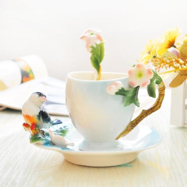 Creative ceramic coffee cup sets Magpies plum blossom color enamel cup wiht Saucer and Spoon wedding
