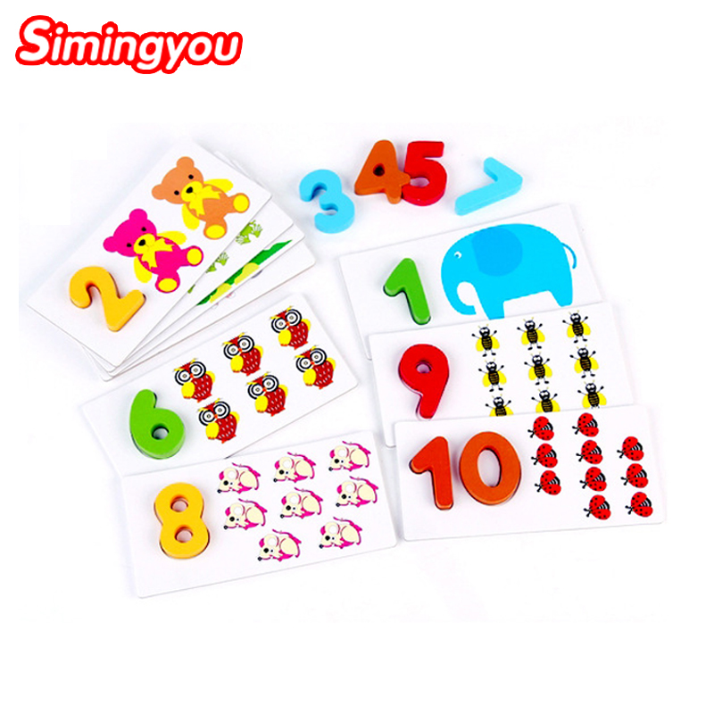 Simingyou Digital Arithmetic Card Puzzles Animal Montessori Wood Toys Kids Educational Toys For Children XY11(China (Mainland))