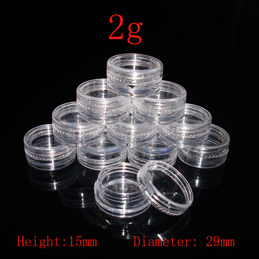 2g empty clear Cream container Jar, MIni sample Cosmetic Container,Display Case,Cosmetic Packaging ,2g Mini plastic bottle 50pc(China (Mainland))