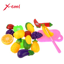 11 PCS / Set Plastic Kitchen Pretend Play Food Fruit Vegetable Cutting Toy For kid Educational Toy Play house toy(China (Mainland))