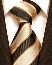 Classical Beige Striped Silk Ties Gravatas Masculinas For Busniess Suit Dresses Gentlemen Neckties High Quality Gifts