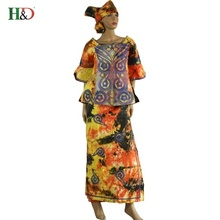 2017 African Bazin dresses for women African Lady Riche Bazin Dashiki 100% Cotton Material Embroidery Kaftan Print(China)