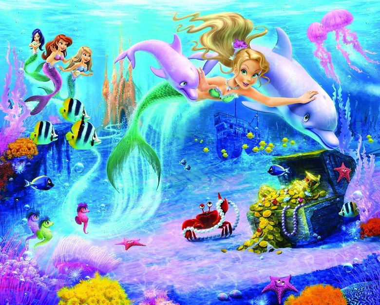 New uk children 39 s wall mural walltastic mermaid sea for Children s wallpaper mural
