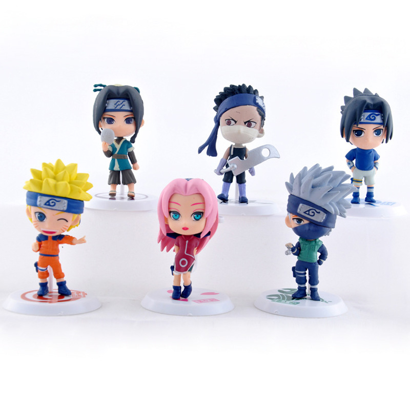 6pcs/set Anime Naruto PVC Action Figure Toys Q version Figurine Model Set Free Shipping(China (Mainland))