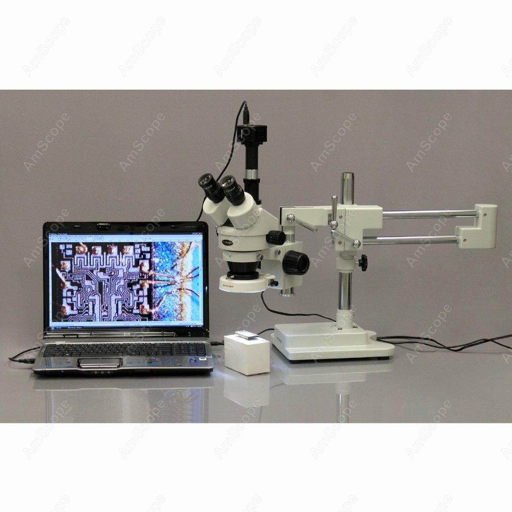 Trinocular Stereo Microscope--AmScope Supplies 7X-45X Trinocular Stereo Microscope with 80-LED Light + 1.3MP USB Digital Camera<br><br>Aliexpress
