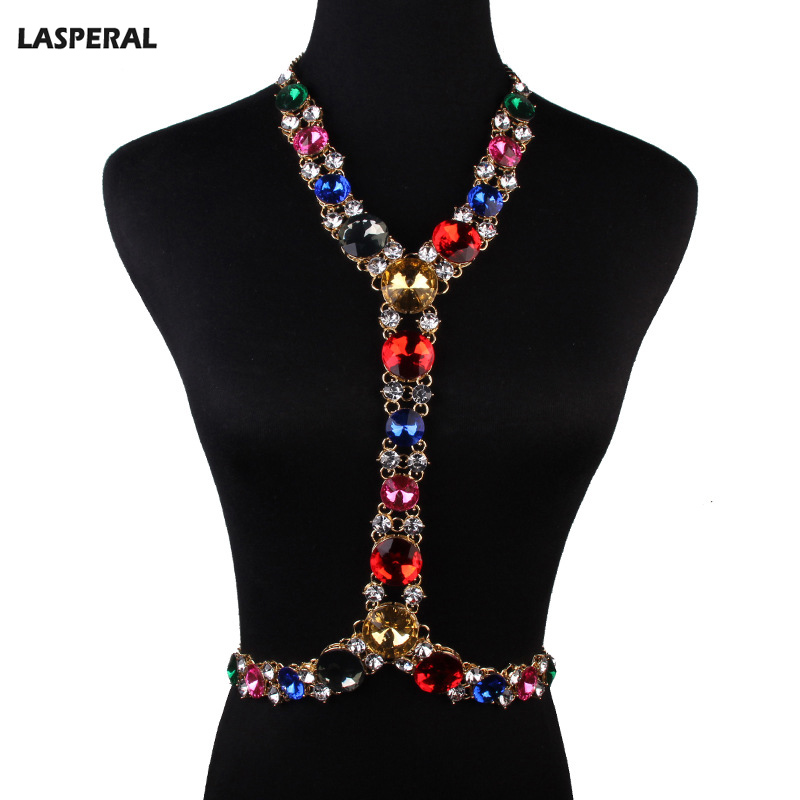 LASPERAL European Summer Body Jewelry For Sexy Lady 1PC Multicolor Rhinestone Body Chain Necklace For Women Gold Plated 56cm(China (Mainland))