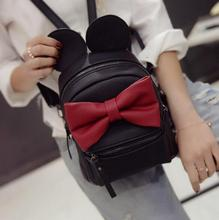 2016 spring new female bag quality pu leather women bag Korean version of Mickey ears sweet bow College Wind mini backpack