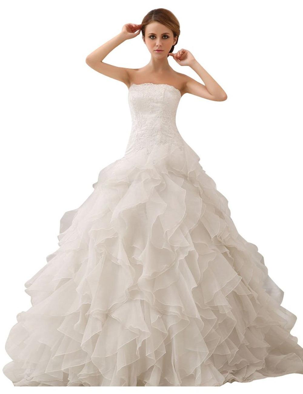 Acquista 2015 elegante una linea di abiti for Wedding dress in stock