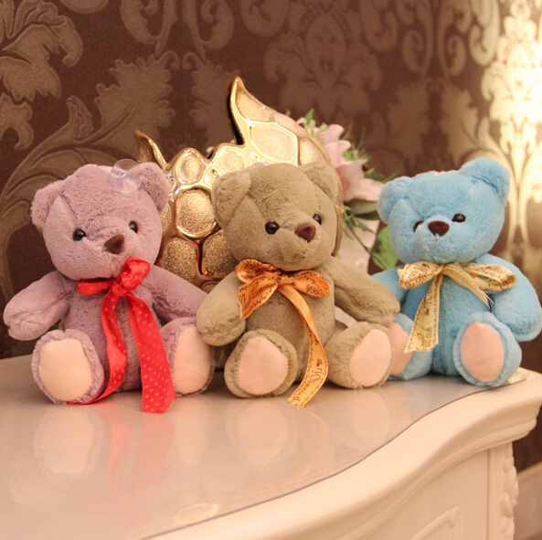 18CM Ribbon Teddy Bear Plush Doll Purple Gray Blue Children's Day Gift Christmas Gifts Halloween(China (Mainland))