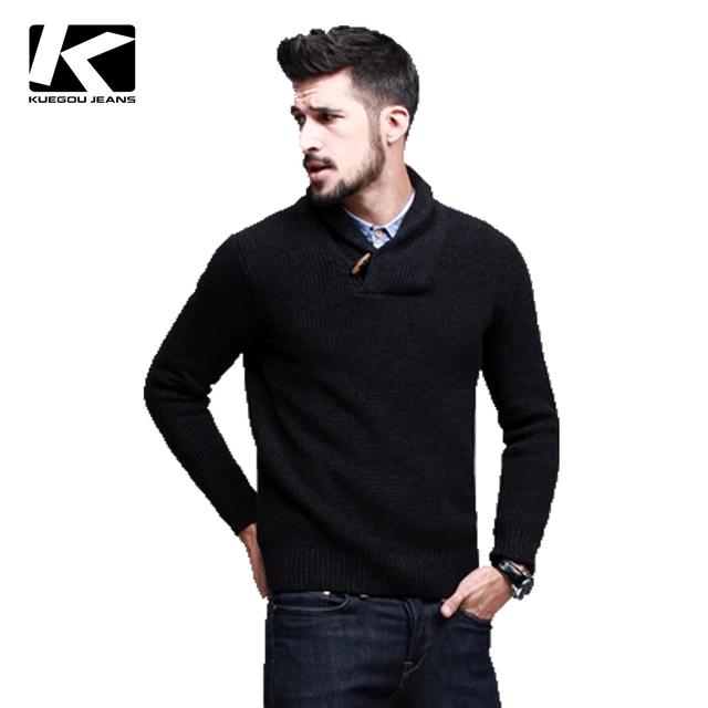 Человек хлопок свитер, Мужской мода с длинным рукавом воротником свитер, Kuegou пуловеры ...