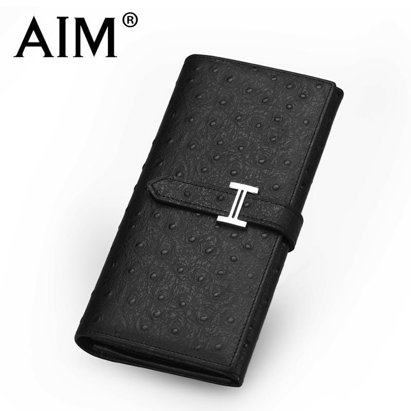 Aim women's wallet female long design ostrich grain cowhide genuine leather wallet purse
