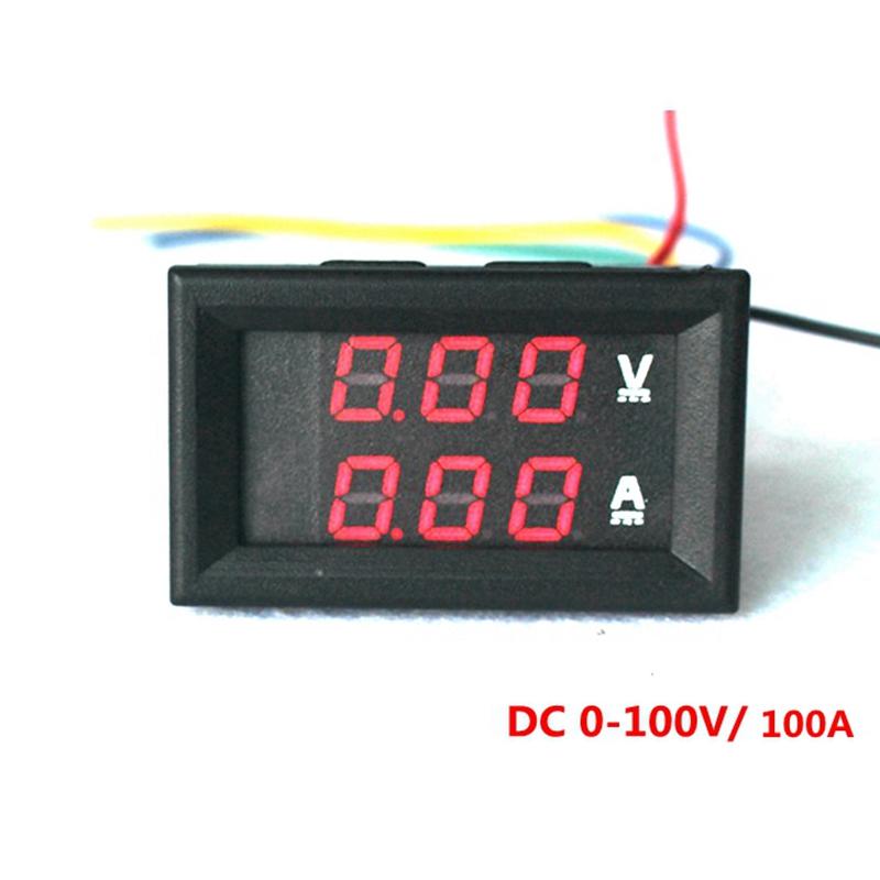 4PCS/LOT Red LED Digital DC Voltmeter Ammeter DC 0-100V/100A Voltage Current Meter Volt Amp Meter Car Motorcycle Battery Monitor