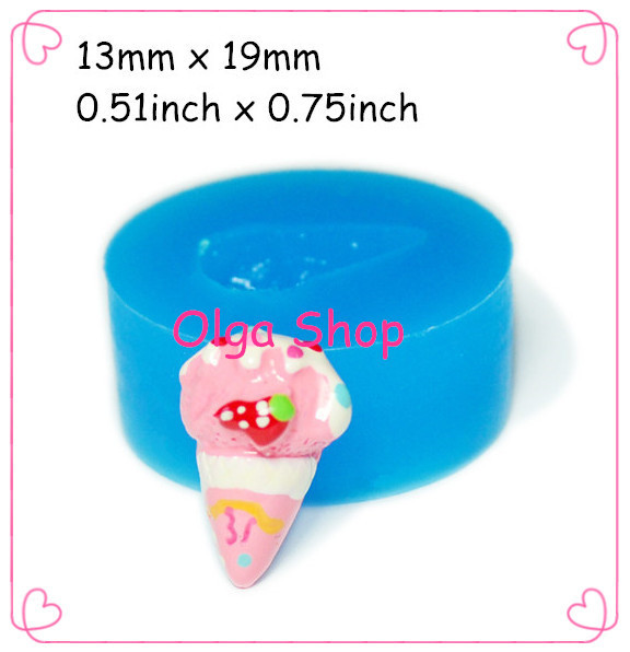 XYL085 Strawberry Ice Cream Silicone Mould 19mm - Cake Decorations Bakeware Polymer Clay Molds, forma de silicone Candle Molds(China (Mainland))