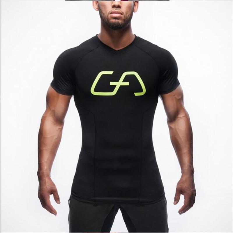 A alta qualidade 2016 Gymshark poliéster Patchwork muscular do comprimido de ginástica masculina homens homens de t-shirt(China (Mainland))