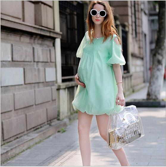 Europe and America Summer Women Maternity Dresses For Pregnant Chiffon Elegant Clothing Cute Clothes for Women Wear Dew Shoulder<br><br>Aliexpress