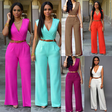 Hot Sale Playsuit Rompers Womens Jumpsuit Plus Size Sleeveless V-neck Sexy Club Elegant Long Loose Pants Overalls Women Sashes
