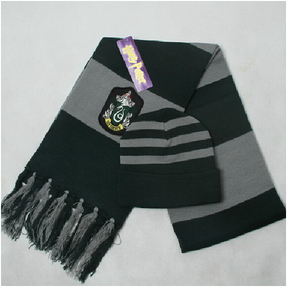 Free shipping Harry Potter Scarves Movie Fans' Favorite School Unisex Striped Slytherin Scareve+hat Cosplay costume(China (Mainland))